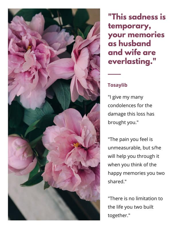 condolences for the spouse peony