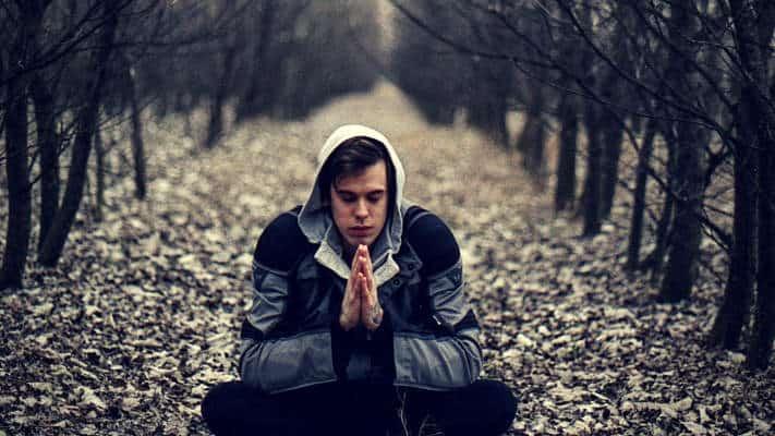 man meditation forest