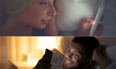 man woman bed texting on phone for good night messages v2
