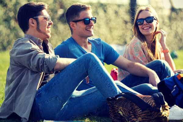 Talking with friends happily