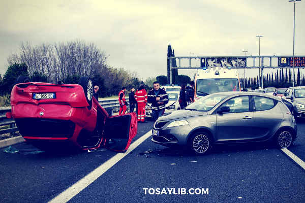 car accident on the route