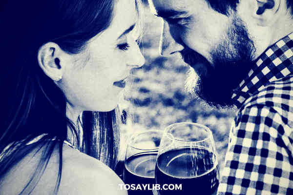 couples drinking wine romance