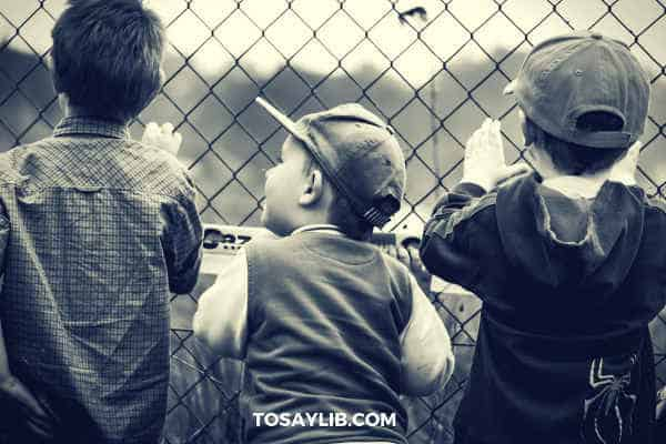 Kids behind fences