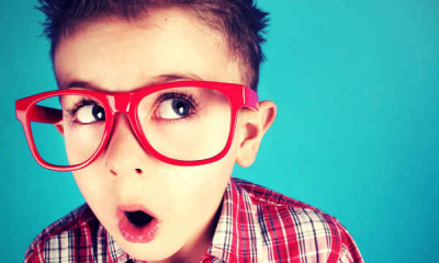 nerdy cute boy red glasses