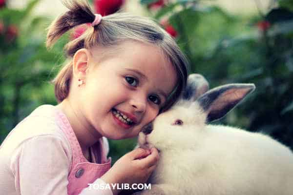 girl in pink with cute bunny