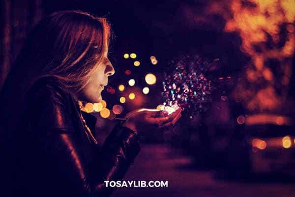 girl blowing up sprinkles
