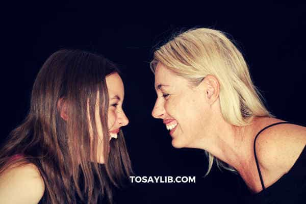 daughter laughing with mom
