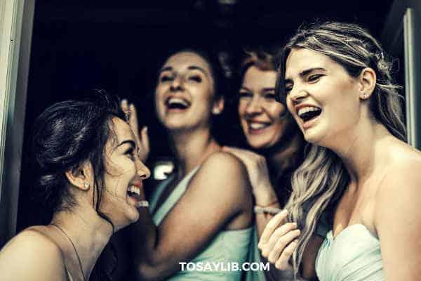 bridemaids joking laughing happily