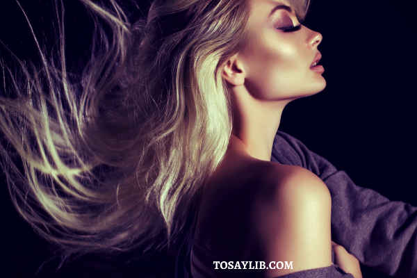 pretty blonde with purple eyeshadow