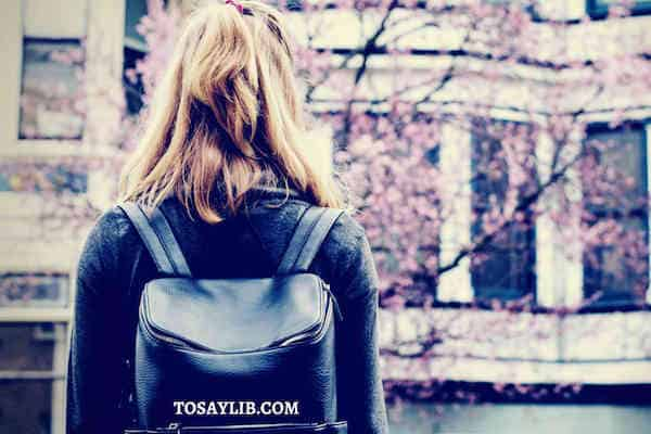 back to school leather backpack woman cherry blossom