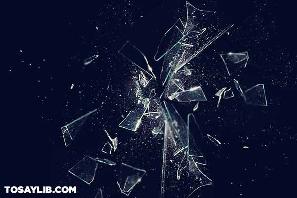 25 Shattered glass against a dark background