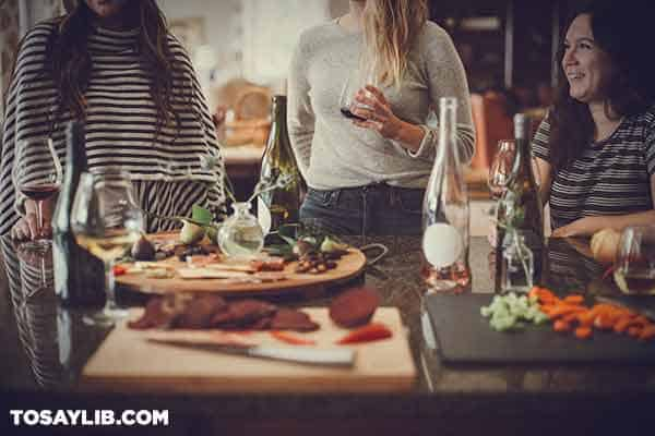 Three women enjoying a dinner together