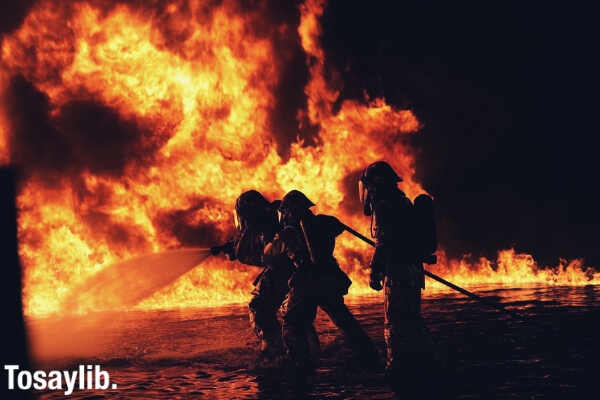 firefighter big fire night