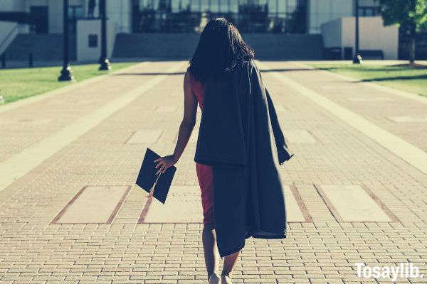 woman graduated toga cap back view v2