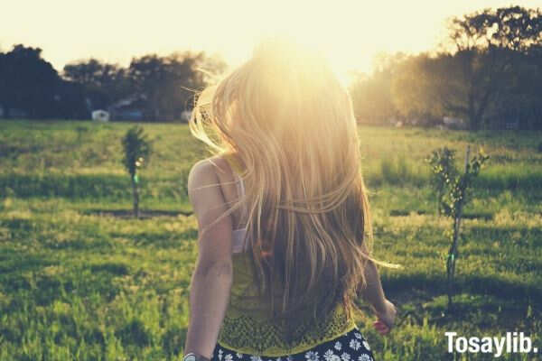 blonde girl backlight happy summer