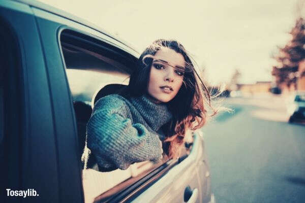 woman riding in a car