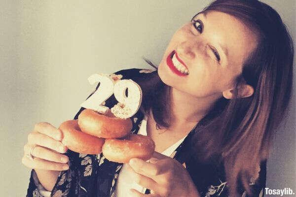 birthday girl winking 29 donuts