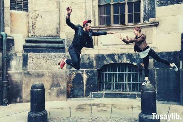 jumping flying happiness smiling magic couple