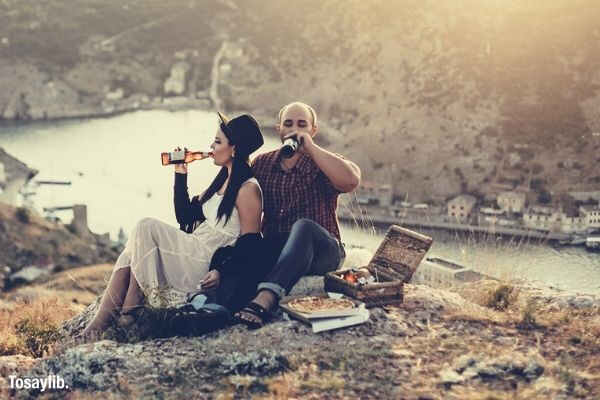 travel sunset camping couple love relaxation lunch picnic beer drinking