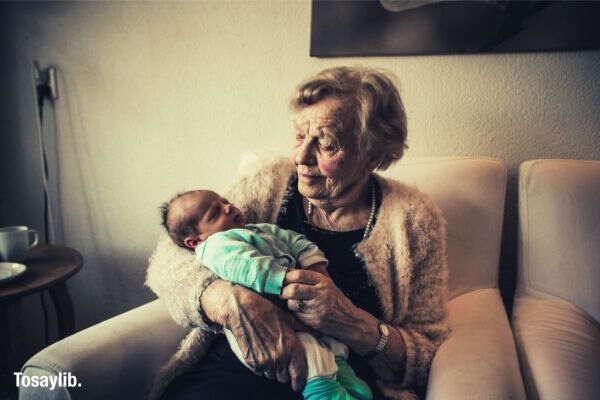 grandma helping baby fall asleep