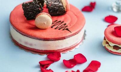 big_macaroon_cake_pink_rose_petal