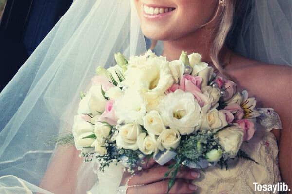 bouquet bouquet hands smiling lips smile dress wedding wedding wedding flowers flowers bride