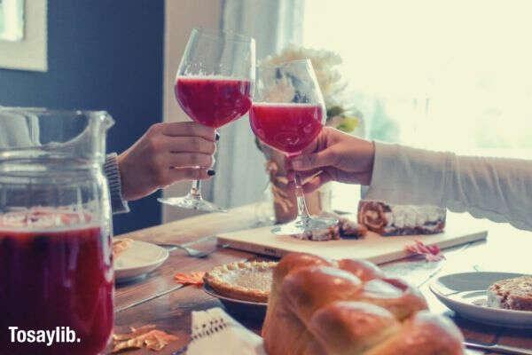 drinks cheers bread pie table food