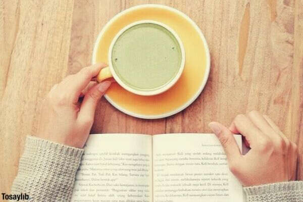 reading book beverage