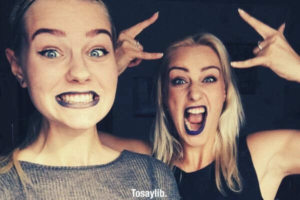 young woman girls selfie selfie funny makeup crazy sisters happy selfie