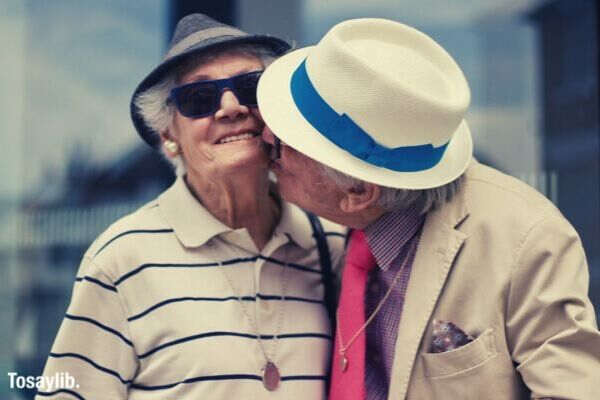 couple love valentines day happy kiss valentines senior senior valentine smart mature adult seniors