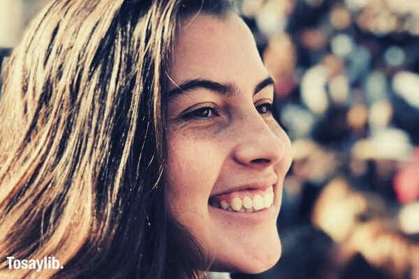 woman smiling focus shot