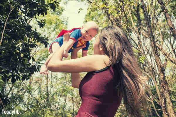 hero superman mother baby woods