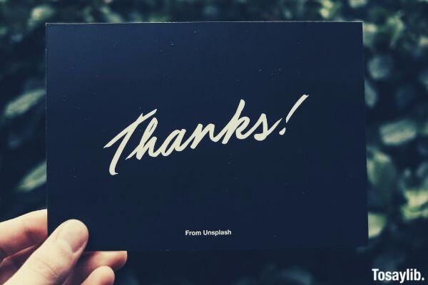 black thank you card