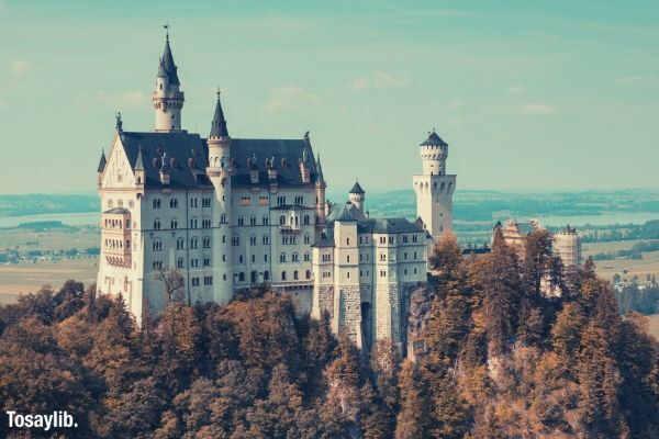 neuschwanstein castle trees sky