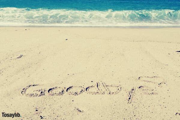 text goodbye sand sea shore sea