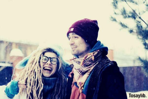 happy couple snow winter