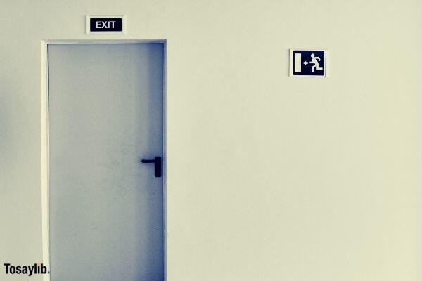 black and white photo door exit