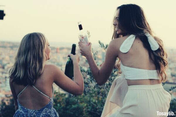 friendship girls spain wine barcelona view champagne friends millennial