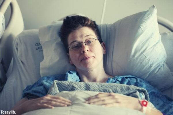 woman hospital bed lying