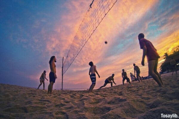 travel sunset beach sports game volleyball