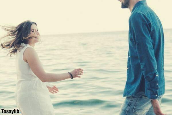 love story couple on the seaside of ocean