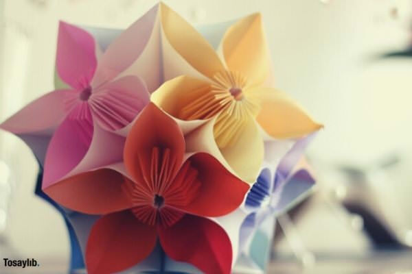origami flower pink red yellow purple
