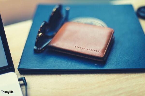 brown leather bifold wallet sunglass blue book