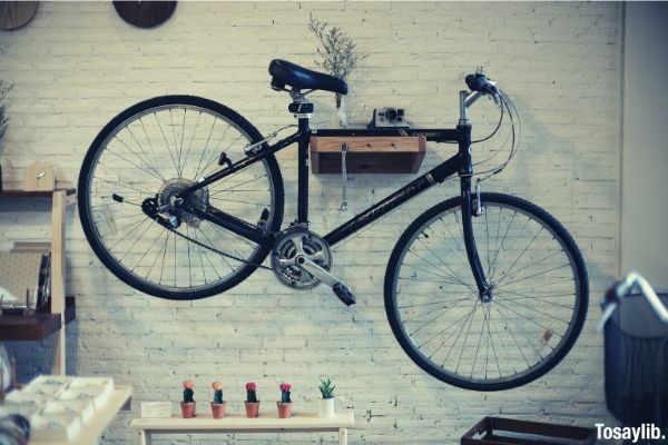black bicycle hanging