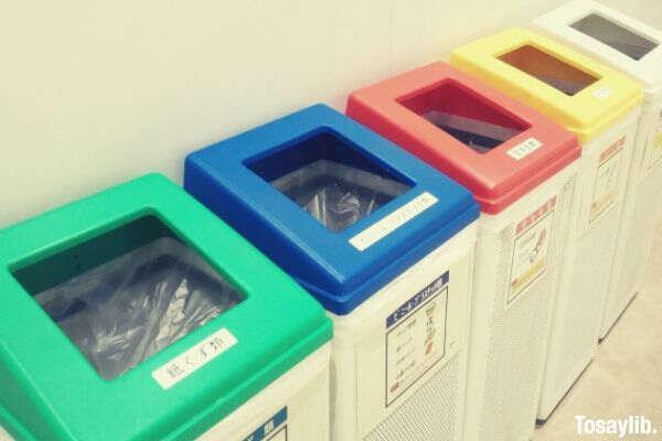 separate trash bins photo