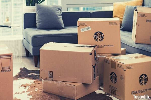 01 cardboard boxes on living room
