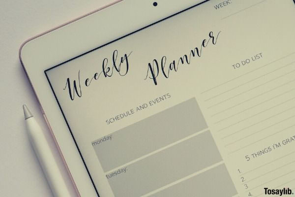 flat lay photo of ipad with weekly planner