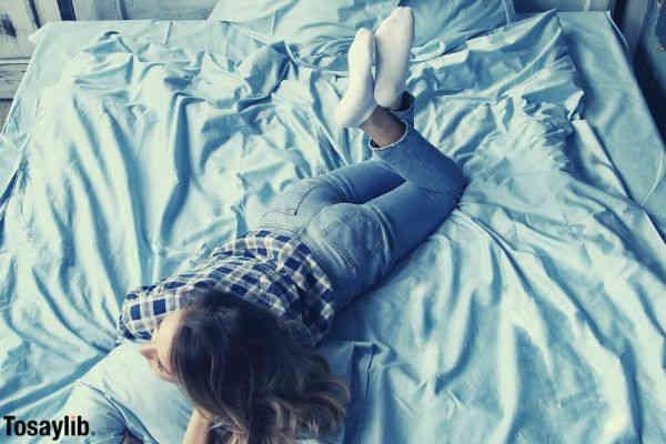 girl in blue bedroom