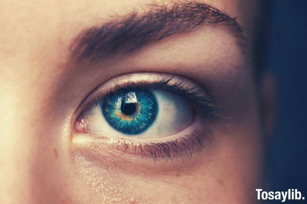 selective focus of blue eyed person