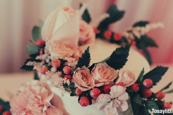 Pink and white roses on white cake